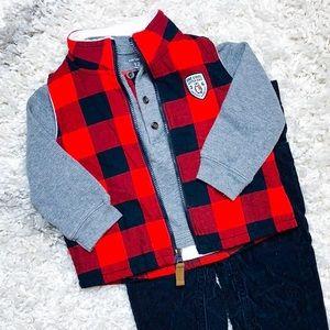 Carter's Buffalo Plaid Vest Outfit Red Plaid Vest